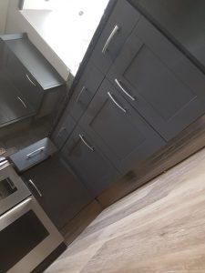 Kitchen cupboards after sprayed