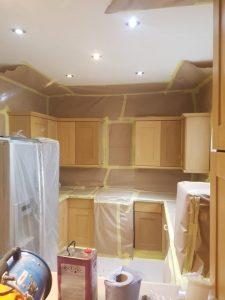 Kitchen cupboards before sprayed